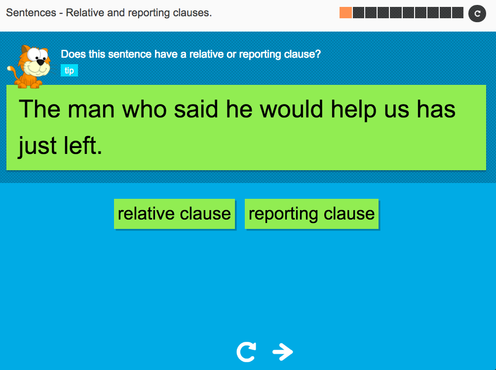 Relative and reporting clauses - Interactive Activity - KS3 Spag