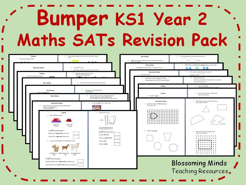 Bumper KS1 Year 2 Maths SATs Revision Pack - All Topics - 3 levels