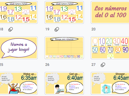 Spanish: Revise numbers 0 to 100, the time and daily routine / números 0 al 100, la hora y la rutina