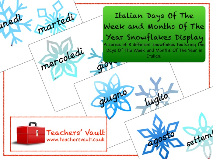 Italian Days Of The Week and Months Of The Year Snowflakes Display