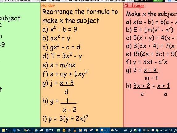 Lesson-Rearrange equations and formula