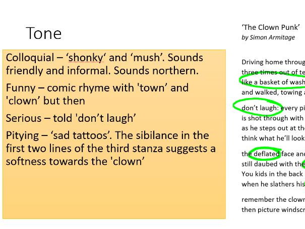 GCSE English Unseen Poetry Revision 'Clown Punk' by Simon Armitage