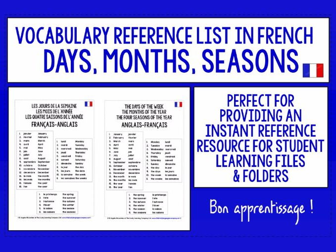 FRENCH VOCABULARY REFERENCE LIST - DAYS, MONTHS, SEASONS