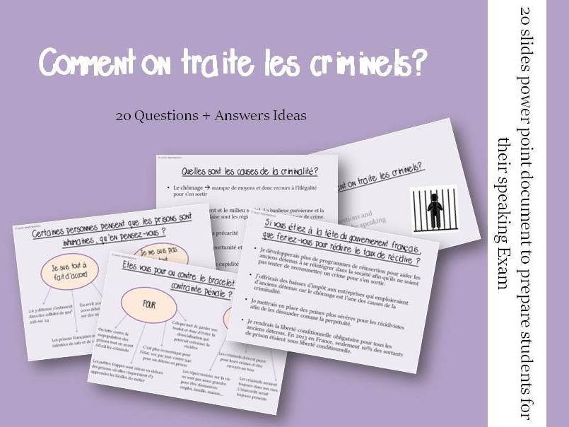 Comment on traite les criminels  - Questions/Answers for the speaking exam (French A2 Criminality)