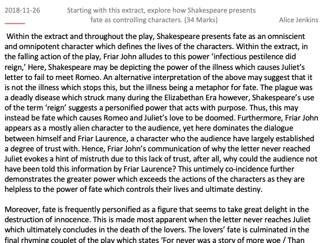 GCSE Romeo and Juliet Level 9 Full Marks Exemplar Essay on Fate controlling characters