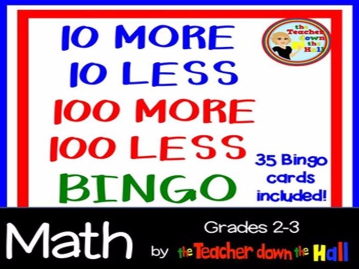 10 and 100 More and Less BINGO - Whole Group Review Game