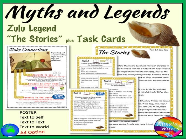 "Myths A Zulu Traditional Tale ""The Stories"" Text & Task Cards Close Questions"