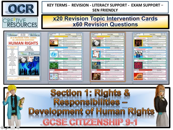 GCSE Citizenship 9-1 Revision Cards - Human Rights and Responsibilities  Revision Topic Cards