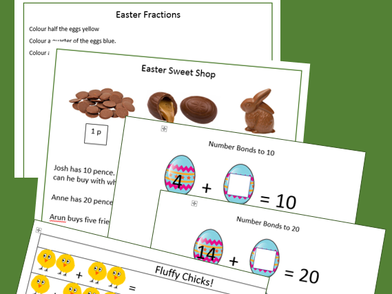 Easter Numeracy: Fractions, Money, Number Bonds and Number stories.