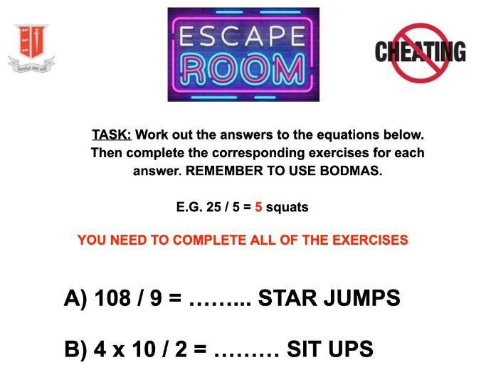 PE Crazy Escape Room Fitness