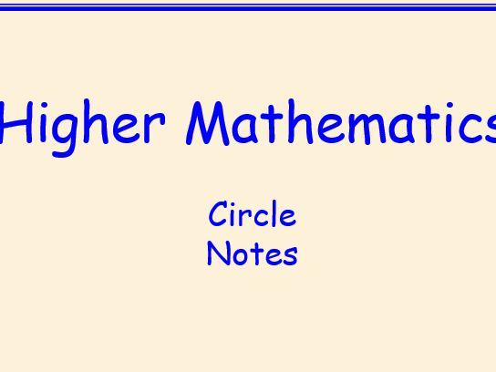 The Circle - Higher Maths Videos and Notes