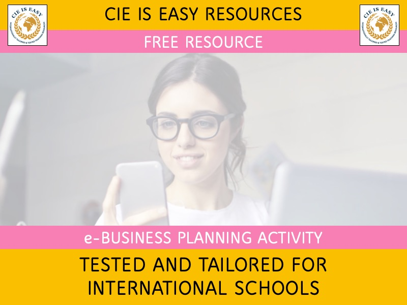 Business Plan Activity - Starting up and Planning an e-Business