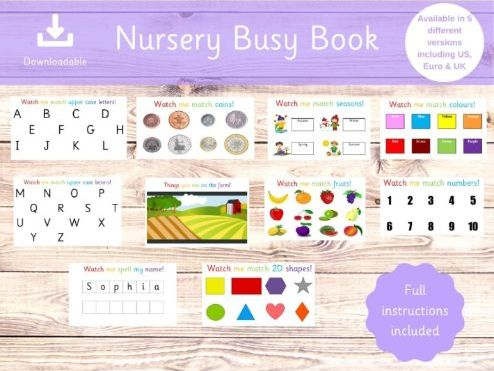 Nursery Binder - Busy Book - Preschool Activities - Activity Binder - Home school - Instant Download
