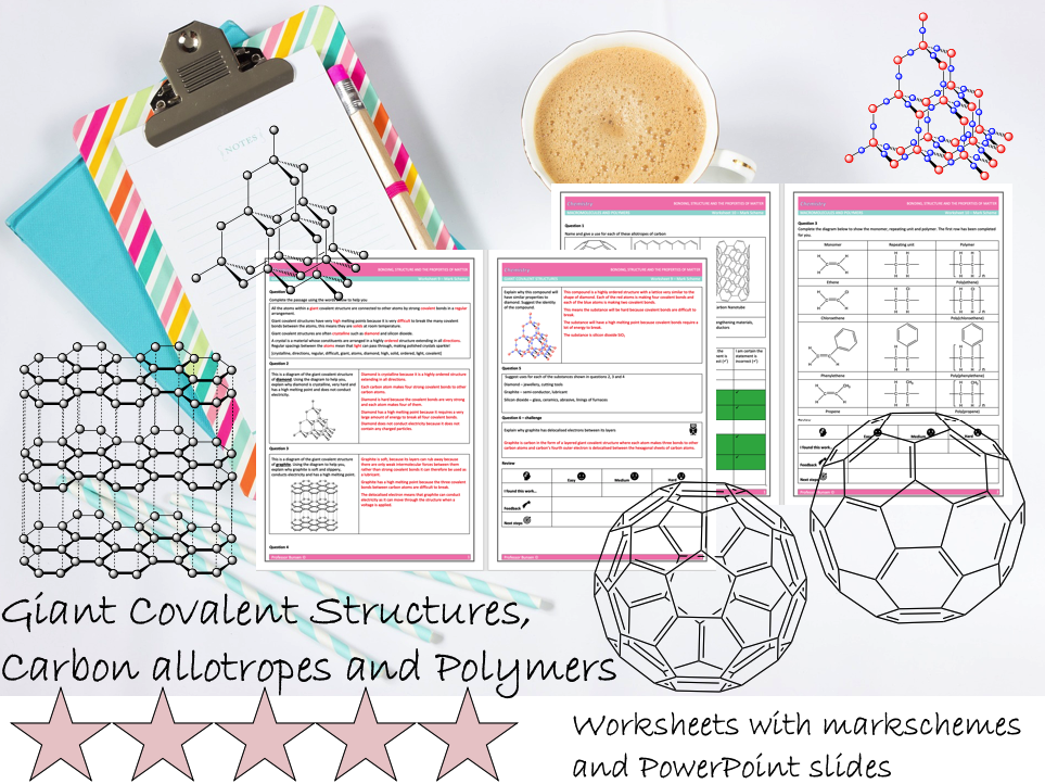 KS4 GCSE Chemistry - Giant Covalent Structures, Carbon Allotropes and Polymers - Worksheets and MS