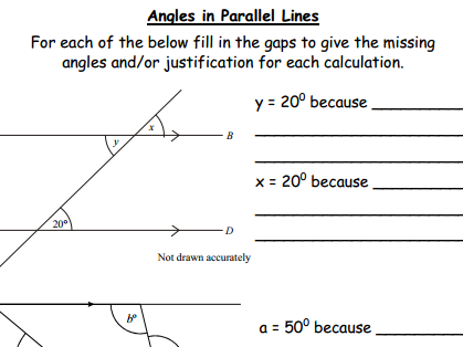 Angles in Parallel Lines & Justification - Gap Fill