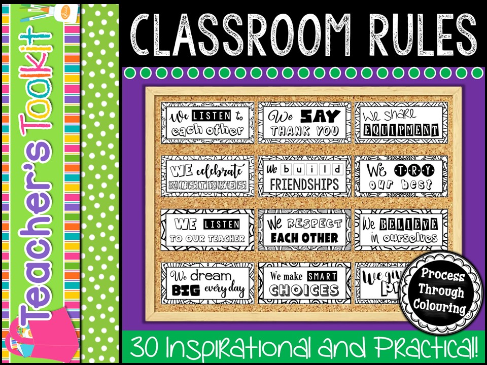 Classroom Rules - Colour In {Editable}