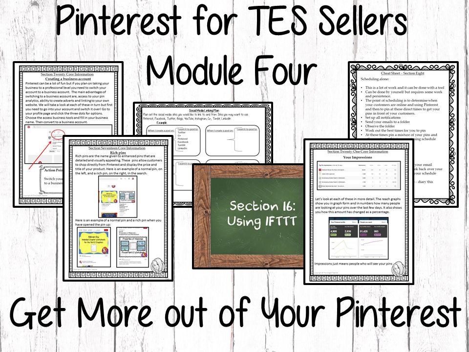 Pinterest for TES Sellers – Module Four: Getting More From Your Pinterest