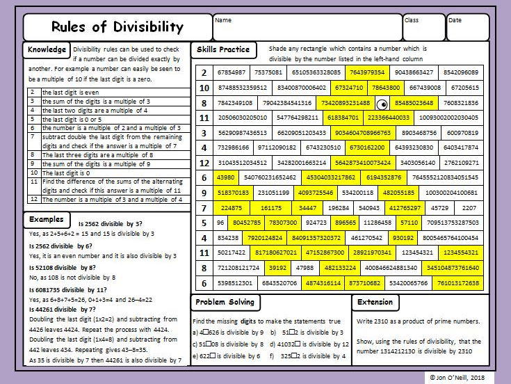 Maths Enrichment Activity - Rules of Divisibility