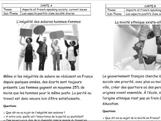 French AQA A-level speaking cards (current issues)