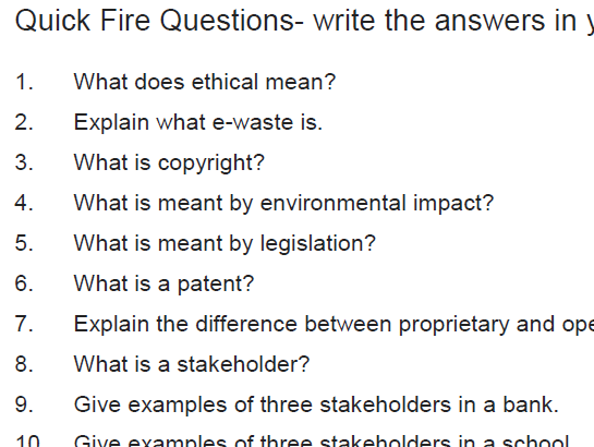 1.8 Legal Ethical Environmental Summary Sheet (with quickfire questions)
