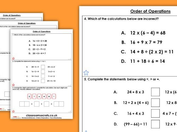 Year 6 Order of Operations Autumn Block 2 Maths Homework Extension