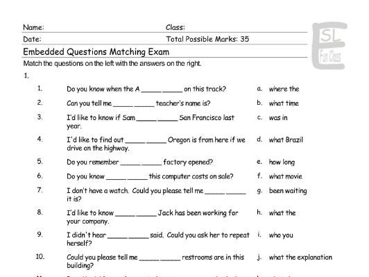 Embedded Questions Matching Exam