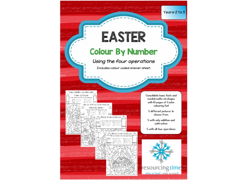 Easter - Colour By Number Using Four Operations