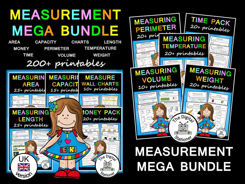 Measurement MEGA Bundle (UK version) - 200+ printables