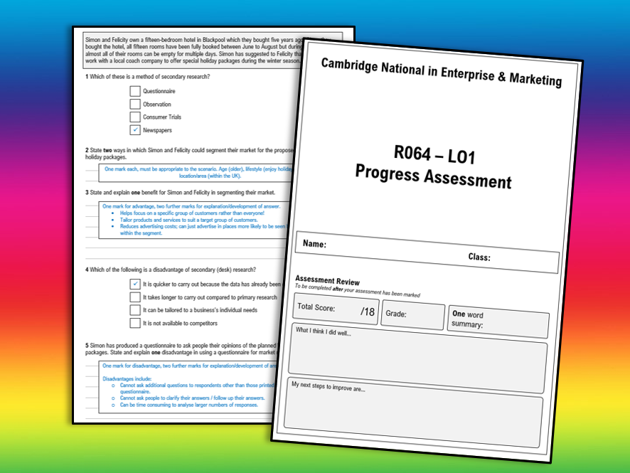 R064 LO1 Test - Cambridge National in Enterprise and Marketing