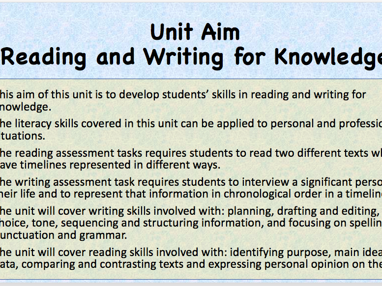 VCAL Literacy - Writing for Knowledge Task