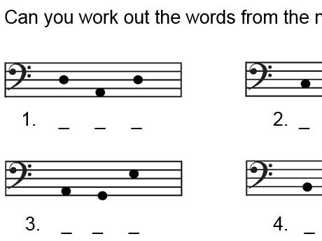 Reading note names bass clef - basic worksheet