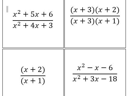 Algebraic Fractions Card Match