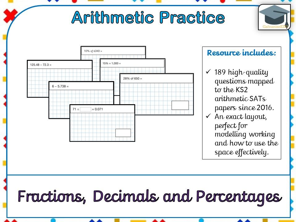KS2 SATs Arithmetic Practice - Fractions, Decimals and Percentages