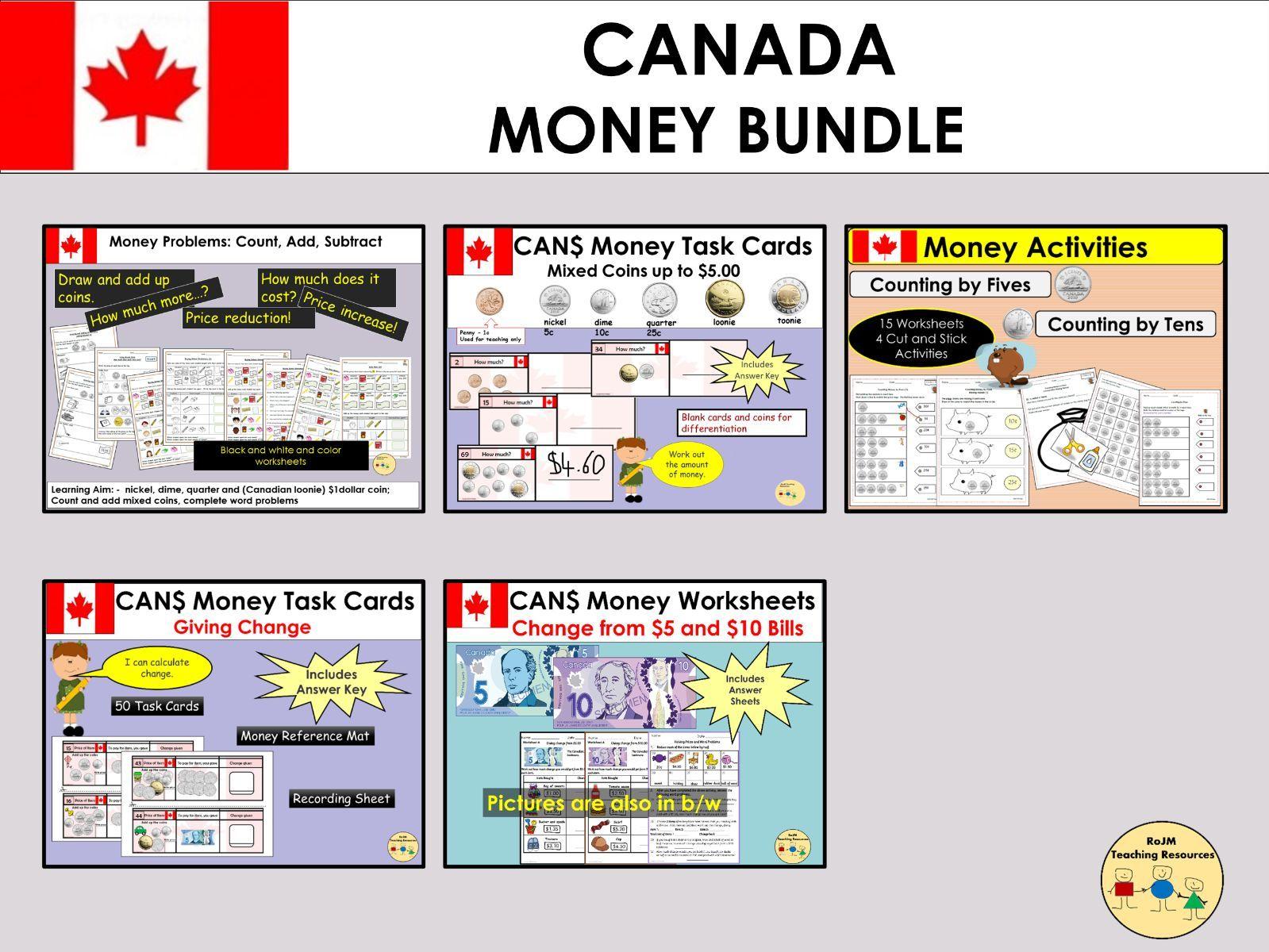 Canadian Money Bundle Worksheets Task Cards
