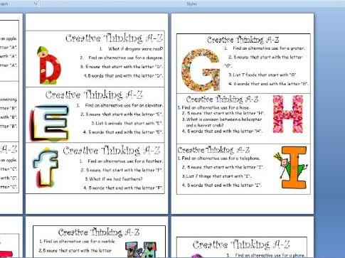Creative Thinking Cards