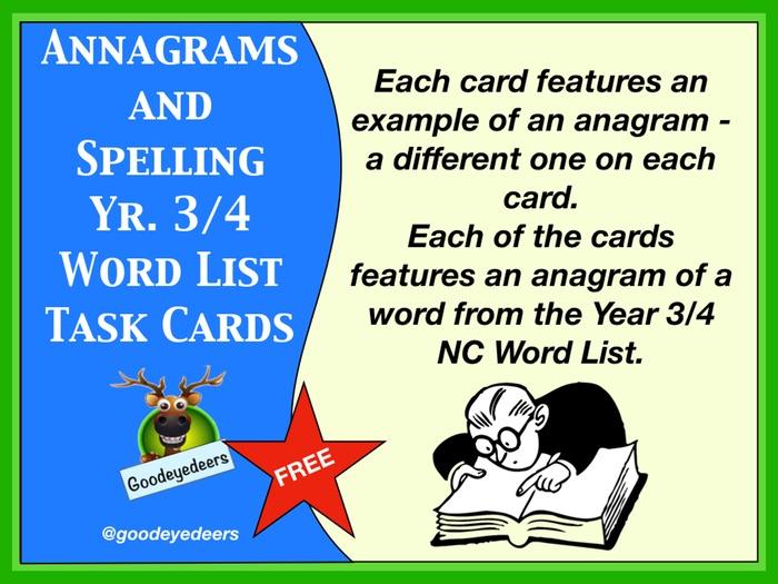 Spelling Cards - Years 3/4 Word List