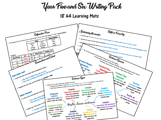 Year 5 and 6 Writing Support Pack - 18 A4 Learning Mats