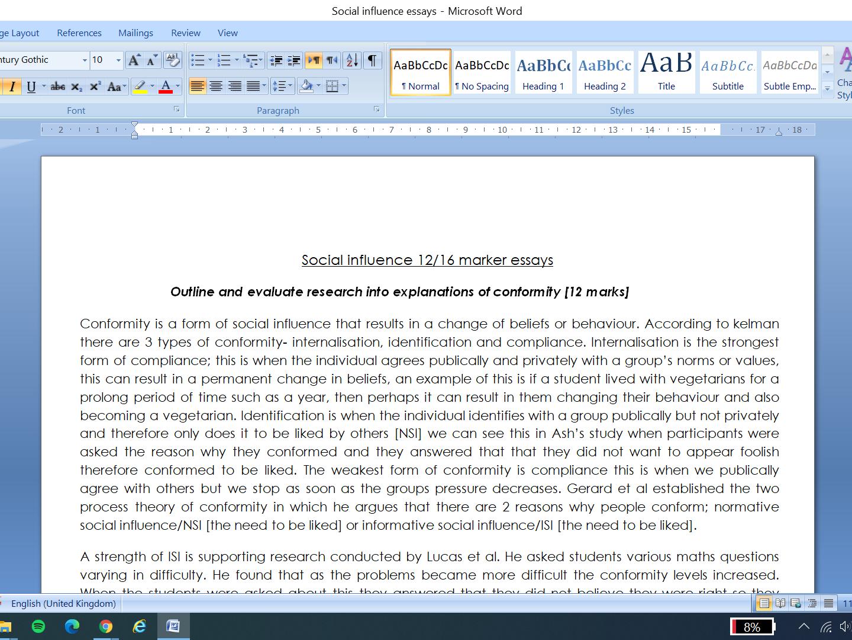 social influence essay full marks