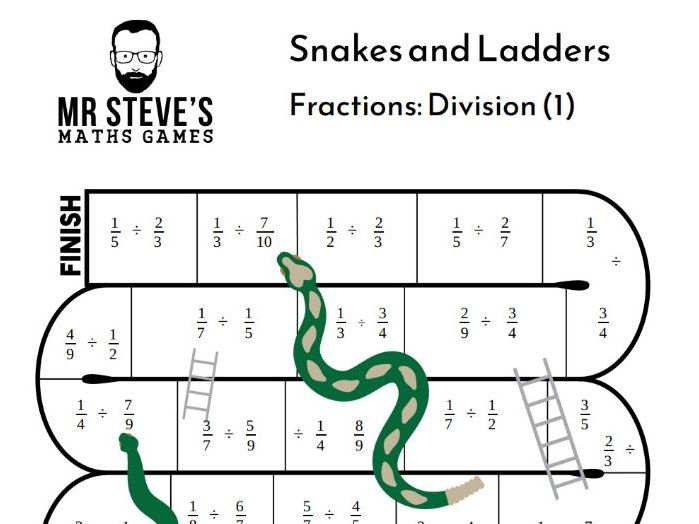 Divide Fractions Game Snakes and Ladders Division Year 6 Year 7 Year 8 ACMNA154