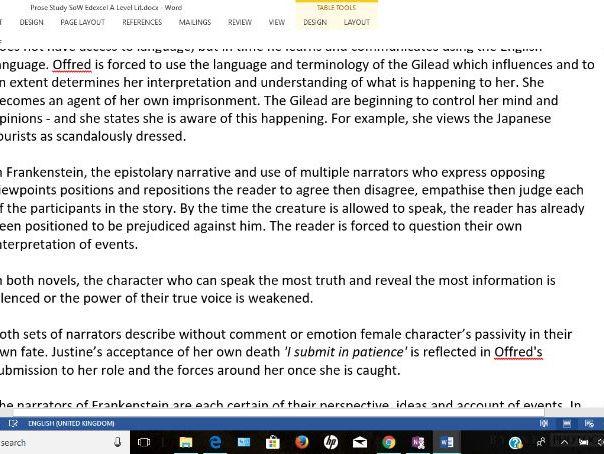 Prose Study Frankenstein and Handmaid's Tale Edexcel A Level Literature Scheme of Work