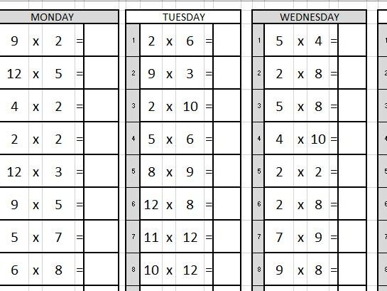 Daily Times Table Practise
