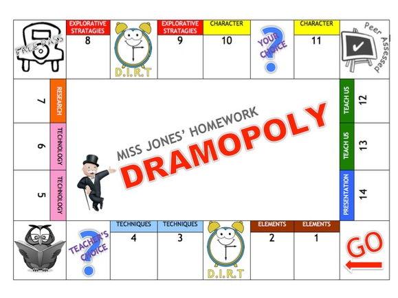 """Dramopoly"" Homework Board"