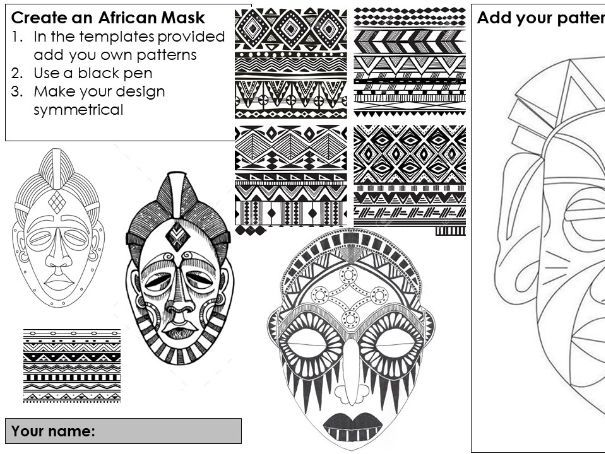 "Cover art lesson ""Create an African pattern mask"" suitable for home learning"