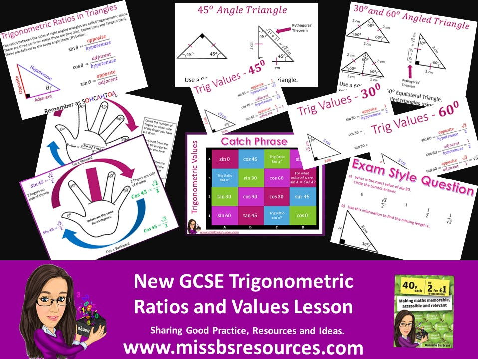 Exact Trigonometry (Trig) Values, Ratios, Memory Tool, Quizzing and Exam Style Question.