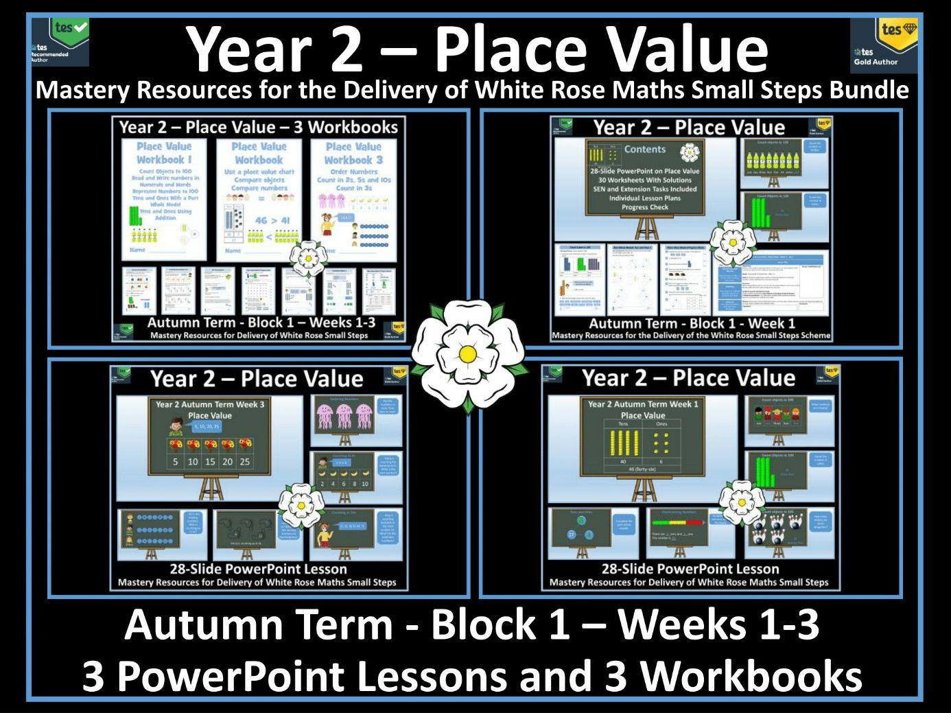 Place Value: 3 Workbooks and 3 PowerPoint Lessons for White Rose Year 2 Autumn Term - Block 1 - Weeks 1-3