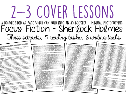 Cover Lessons: 3 Sherlock Holmes Extracts + Reading/Writing Activities