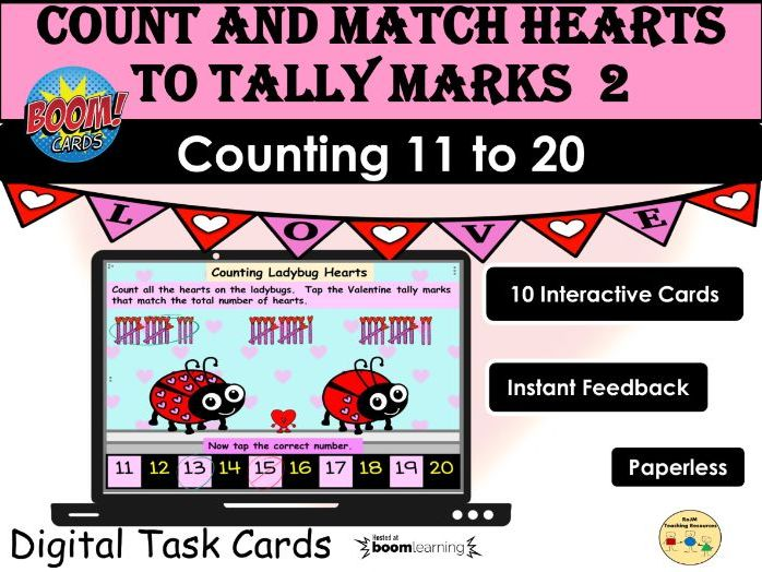 Valentines Day Counting 11 to 20 Hearts and Tally Marks BOOM Cards Distance Home Learning