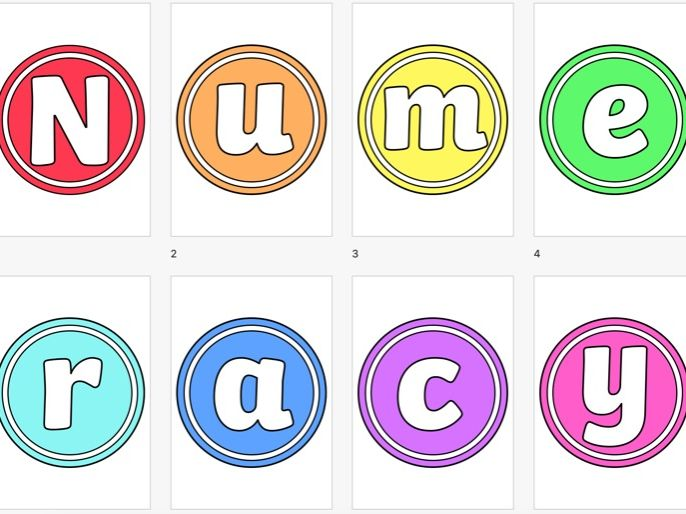 Numeracy Display Lettering Bright Circular