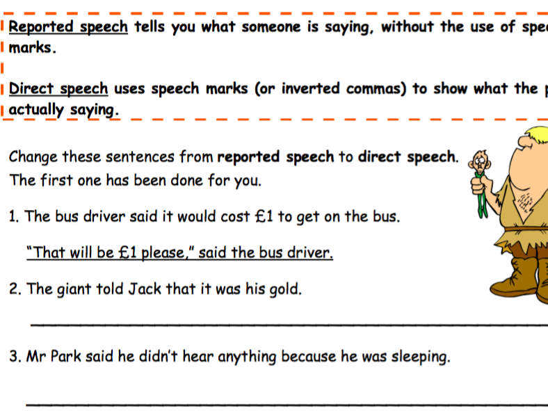Reported Speech to Directed Speech Worksheet
