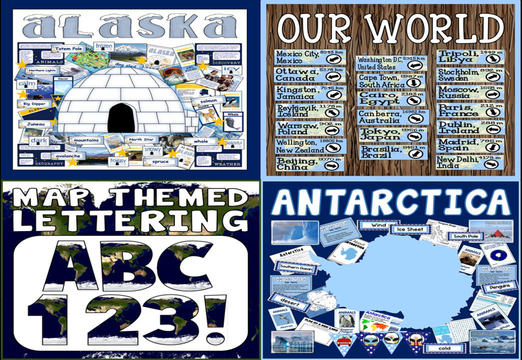 *BUNDLE* GEOGRAPHY ALASKA ANTARCTICA MAP LETTERING OUR WORLD DIRECTIONS SIGNPOSTS
